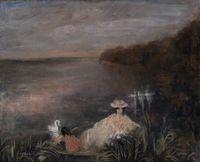 LAPRADE Pierre (1875-1931) Femme et enfant au bord d'un lac  Don: VOLLARD Lucien