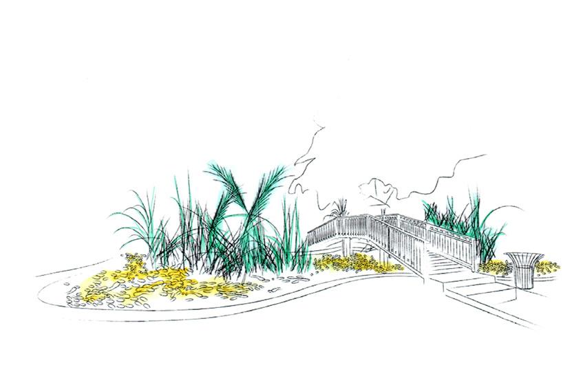 dessin d'un bassin dans le jardin de l'état, surmonté d'un pont