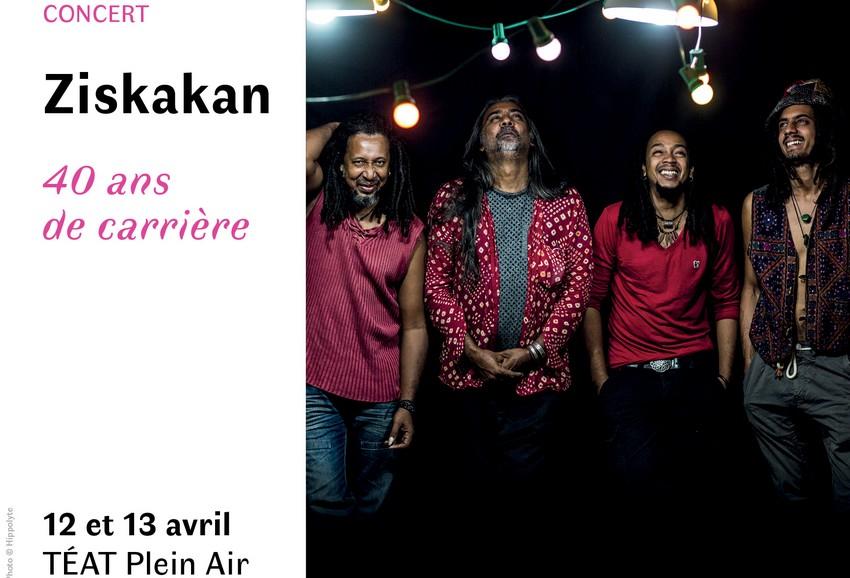 Affiche du concert des 40 ans de Ziskakan avec Gilbert Pounia entouré de ses musiciens