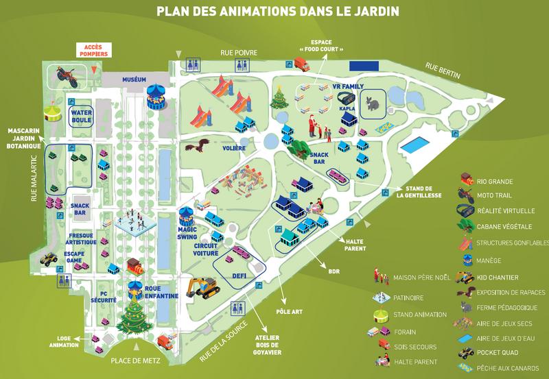 plan des animations dans le jardin de l'Etat