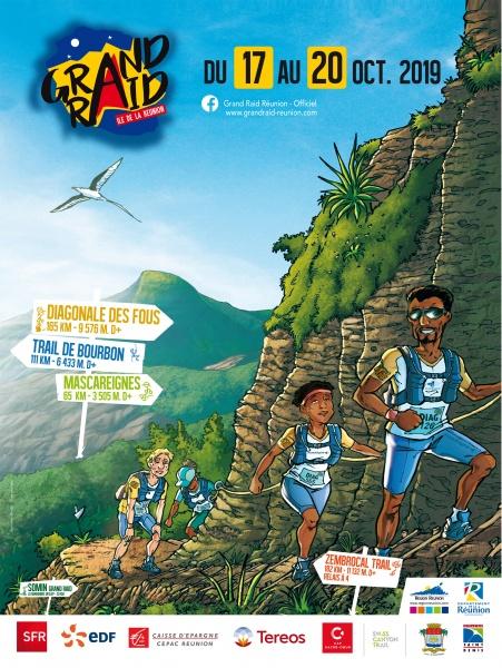 Plusieurs personnages qui escaladent une montagne... le tout sous forme de dessin. C'est l'affiche du Grand Raid 2019
